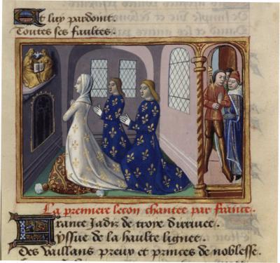 Prière de France et de ses deux premiers fils, les rois Clovis et Pépin