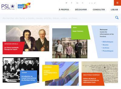 Page d'accueil du site Psl-Explore