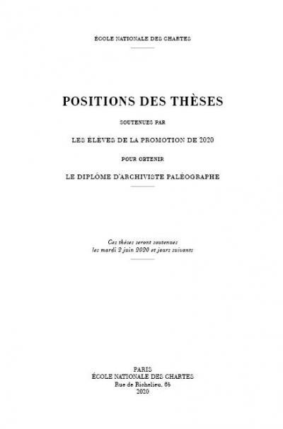 Couverture des Positions des thèses 2020