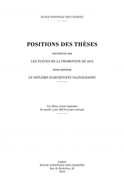 Couverture des Positions des thèses 2019