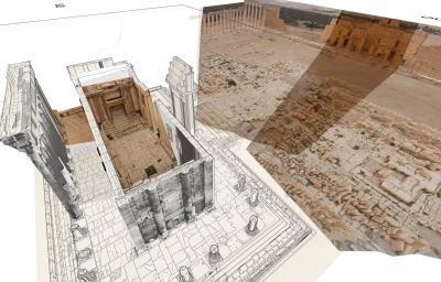 Capture d'une vidéo de reconstitution 3D du temple de Bêl (Syrie) détruit en août 2015