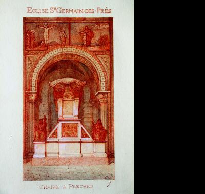 Église Saint-Germain-des-Prés. Chaire à prêcher, vers 1897 (Archives historiques du diocèse de Paris)