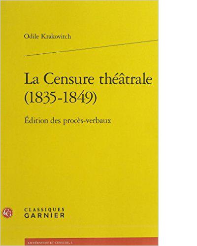 Couverture de La censure théâtrale (1835-1849)