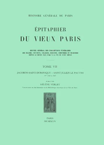 Couverture de L'Épitaphier du Vieux-Paris