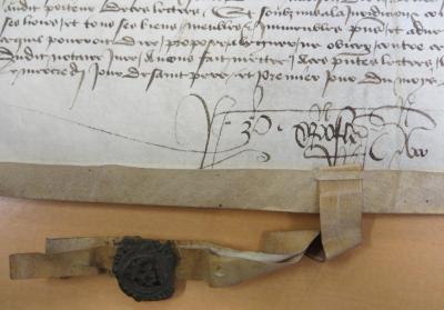 Seing de Pierre Christofle sur un document portant le sceau de la prévôté d'Orléans (ADL, H Dépôt2, 1B54, 1ᵉʳ août 1442)