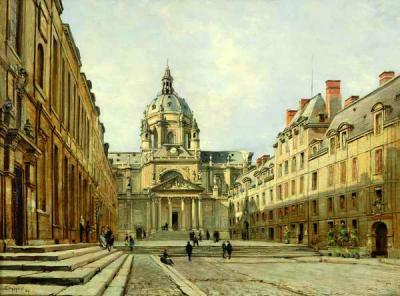 Tableau d'Emmanuel Lansyer (cour de l'ancienne Sorbonne en 1886)