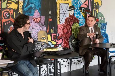 Christian Eudeline, journaliste de «rock» et Jean-Michel-Leniaud, directeur de l'École lors de la journée d'étude sur «La scène punk en France (1976-2016): question d'archives»