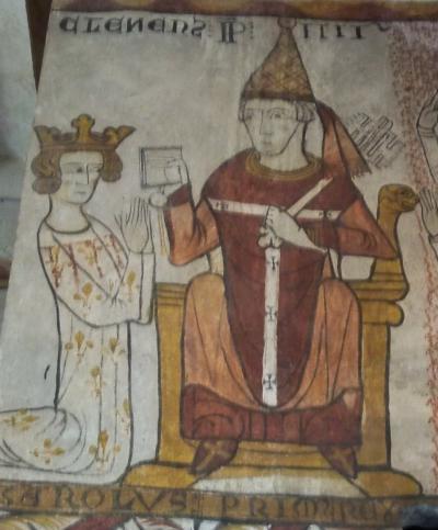«Investiture du royaume de Naples à Charles d'Anjou, comte de Provence, par le pape Clément IV». Peinture murale, fin XIIIᵉ siècle, Pernes (Vaucluse), tour Ferrande