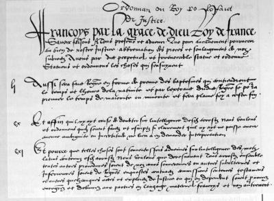 Copie du préambule et des articles toujours appliqués de l'ordonnance de Villers-Cotterêts