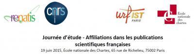 journée d'étude - Affiliations dans les publications scientifiques françaises