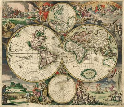 Nova totius terrarum orbis tabula Amstelodami, ex officina G. a Schagen (1682, Amsterdam)