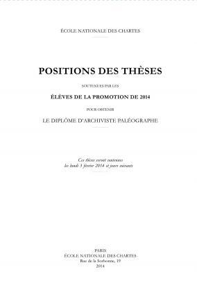 Positions des thèses 2014