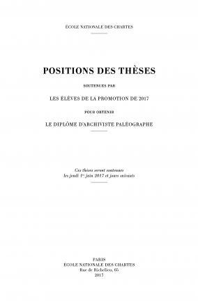Couverture des Positions des thèses 2017