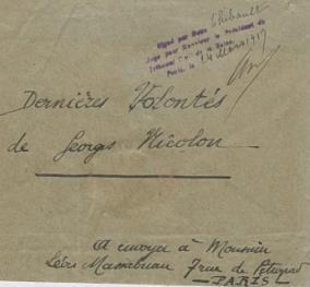 Enveloppe du testament de Georges-François-Marie-Auguste Nicolon, mort pour la France le 10 février 1917 (Archives nationales, MC/ET/LIX/1094, minute du 24 mars 1917)