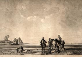 Charles Damour (1813-1860) Pêcheurs à marée basse d'après Bonington (1852)