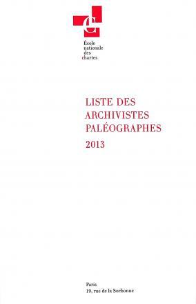 Liste des archivistes paléographes 2013