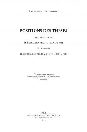 Positions des thèses 2015