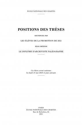 Couverture des Positions des thèses 2021