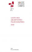 Couverture de la Liste des archivistes paléographes 2020