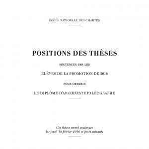 Couverture des Positions des thèses 2016