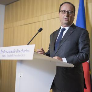 Inauguration du nouveau bâtiment de l'École au 65, rue de Richelieu, par François Hollande, président de la République (2015)