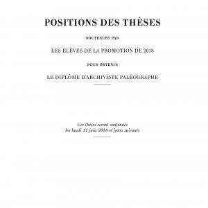 Couverture des Positions des thèses 2018