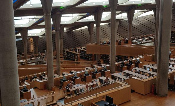 Visite de la Bibliotheca Alexandrina par la délégation de l'École