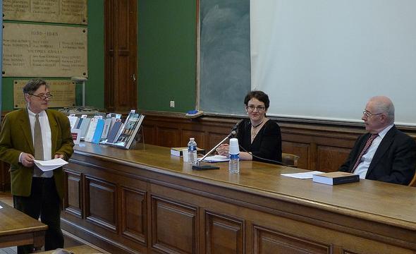 Jean-Michel Leniaud introduit la conférence de Michelle Bubenicek, avec Walter Prevenier