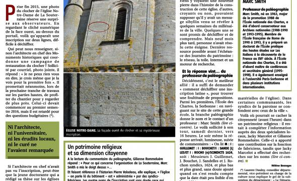 Marc Smith déchiffre une inscription sur la pierre d'une église, article paru dans La Montagne