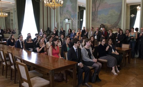 Cérémonie 2019 de remise des diplômes d'archiviste paléographe dans la salle des Commissions de la Sorbonne