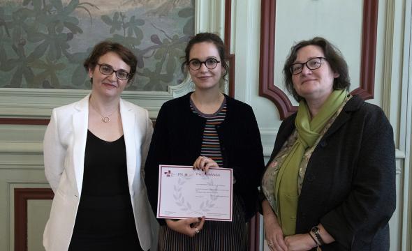 Marie-Françoise Limon-Bonnet remet le prix Léopold-Delisle à Lou Delaveau
