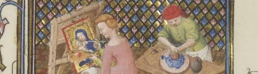 Extrait du Livre des femmes nobles et renommées de Boccace qui représente la peintresse Thamar au travail. Bibliothèque nationale de France, Paris