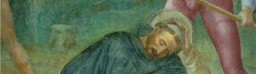 Assassinat de l'inquisiteur dominicain St. Pierre Martyr par un hérétique Vincenzo Foppa (XVe s.)