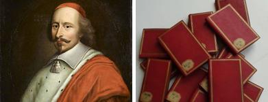 Portrait du cardinal Mazarin et ses carnets (1642-1650), conservés au département des Manuscrits de la BnF à Paris (Baluze 174)