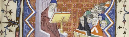 Premier folio (1r) du ms. Paris, BnF, fr. 210, une copie du Livre des Problemes d'Evrart de Conty