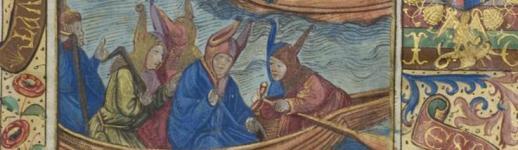 Sébastien Brant, La Nef des fols du monde, traduction de Pierre Rivière, Paris, Geoffroy de Marnef et Johann Philippi, 1497. 2°. Exemplaire enluminé par Vérard et sur parchemin réglé