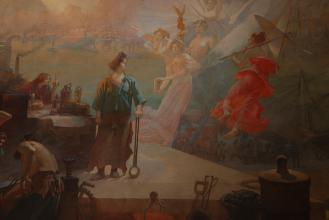 Les Sciences et les Arts présentent leurs découvertes à l'Industrie. Panneau de Paul Sinibaldi pour la salle des comminissions du ministère du Commerce et de l'industrie, 1897