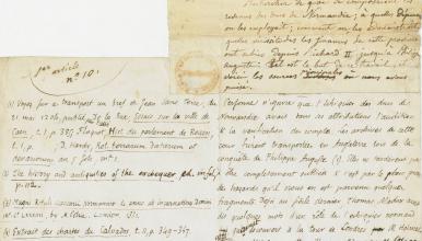 Essai sur les revenus publics en Normandie au XIIᵉ siècle, thèse pour le diplôme d'archiviste paléographique, soutenue par Léopold Delisle, 1849