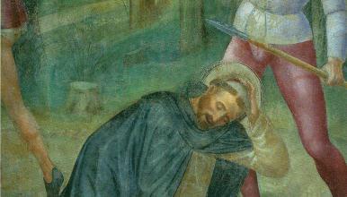 <em>Assassinat de l'inquisiteur dominicain St. Pierre Martyr par un hérétique</em> Vincenzo Foppa (XV<sup>e</sup> s.)