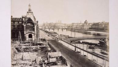 Édouard Baldus, Palais du Louvre Construction des guichets et destruction de la Grande Galerie, photographie à l'albumine.