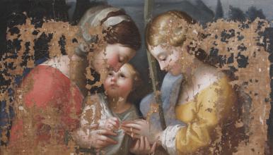 Mariage mystique de Sainte-Catherine, École française du Louvre, XVIIe s., auteur inconnu, dimensions 72 par 99, coll. particulière