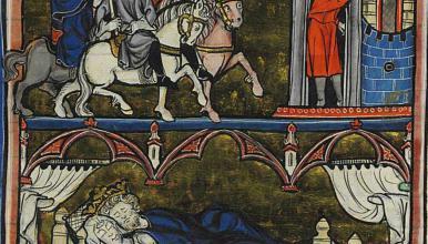 Histoire de Merlin. Arrivée d'Uterpandragon à Tintagel (Arthur Roman du XIIIe siècle. Manuscrit copié à Saint-Omer, vers 1280-1290)