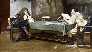 «Une collaboration», lithographie représentant Jean-Baptiste Poquelin dit Molière (à gauche) et Pierre Corneille (à droite), d'après une œuvre du peintre français Jean-Léon Gérôme (1824-1904), datée de 1863